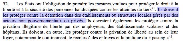 """Capture point 52 :""""Ils doivent les protéger contre la détention dans des établissements ou structures locales gérés par des acteurs non gouvernementaux ou privés."""""""
