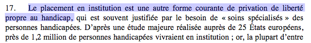 "Capture point 17 : ""Le placement en institution est une autre forme courante de privation de liberté propre au handicap (...)"""