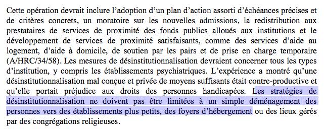 """Capture point 67 :""""Les stratégies de désinstitutionnalisation ne doivent pas être limitées à un simple déménagement des personnes vers des établissements plus petits, des foyers d'hébergement ou des lieux gérés par des congrégations religieuses."""""""